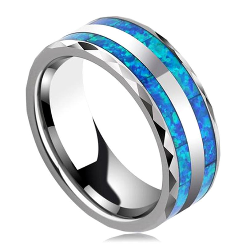 Multi Colors Opal Inlay Brushed Tungsten Ring Wedding Bands