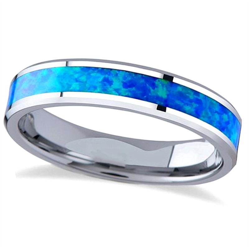 JaneE red opal blue tungsten ring exquisite for wedding-5