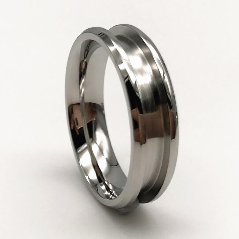 Mens Stainless Rings Channel for Inlay 316L Surgical Stainless Steel 8mm
