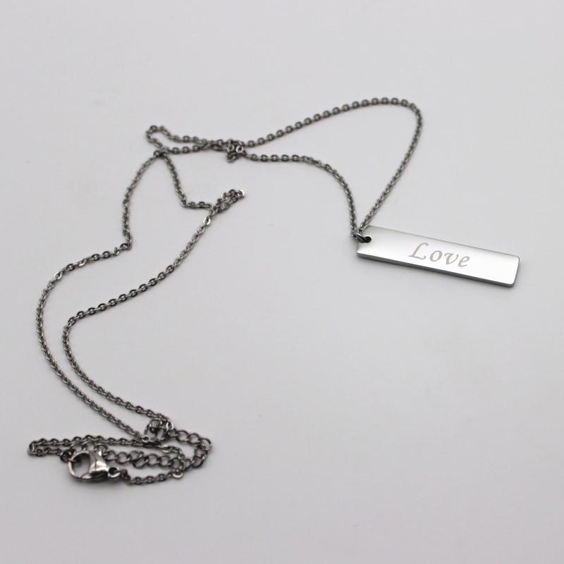 Custom Steel Chain Necklace Engraved 316L Stainless Steel Bar Pendant Necklaces for Men Women
