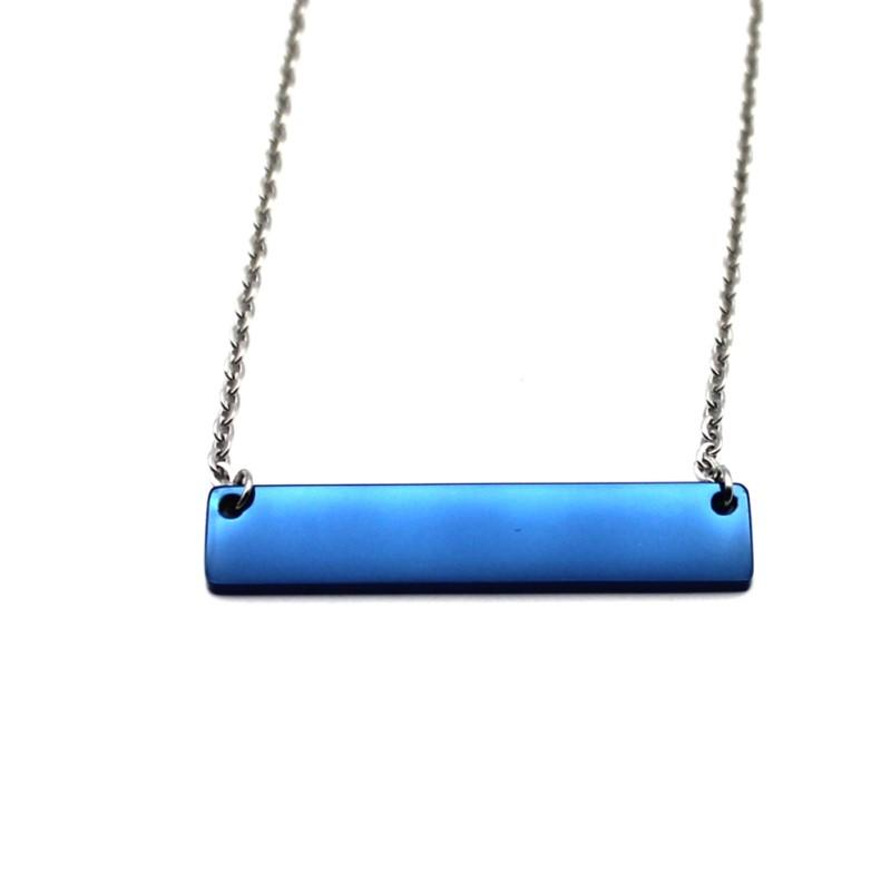 Fashion Stainless Steel Necklace For Men Women Blue Plain Bar Necklace