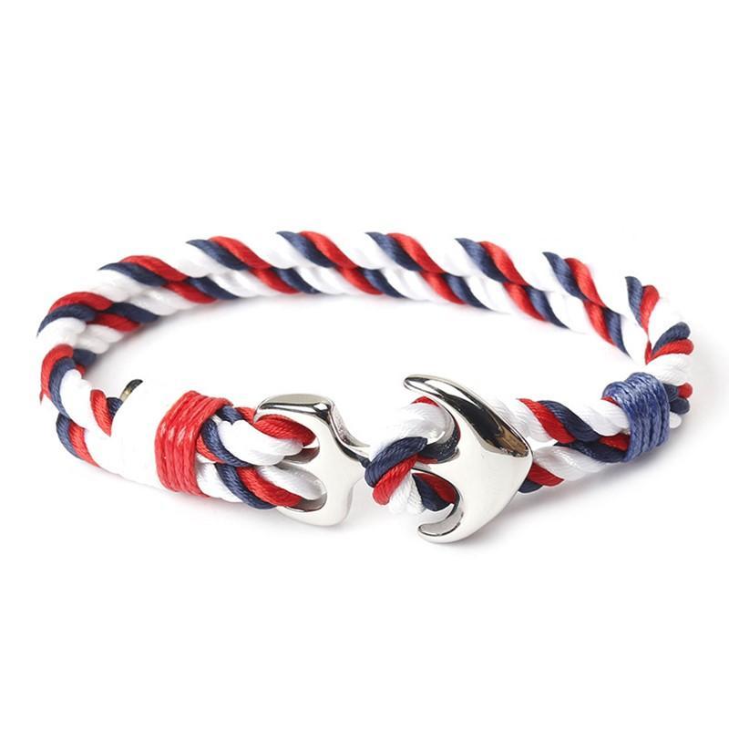 Custom Stainless Steel Rope Bracelet For Men Anchor Clasp