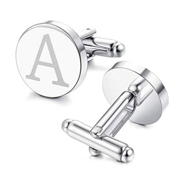 Personalised Cufflinks Stainless Steel Engrave Logo Name Round for Men