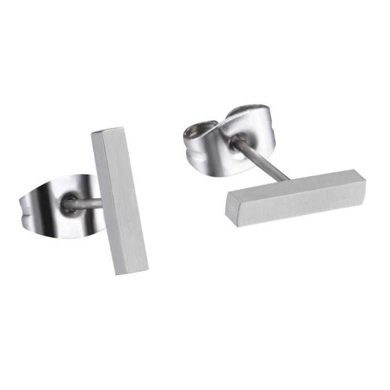 Pure Hypoallergenic Titanium Ear Studs Earrings Bar Geometric Shape for Men Women