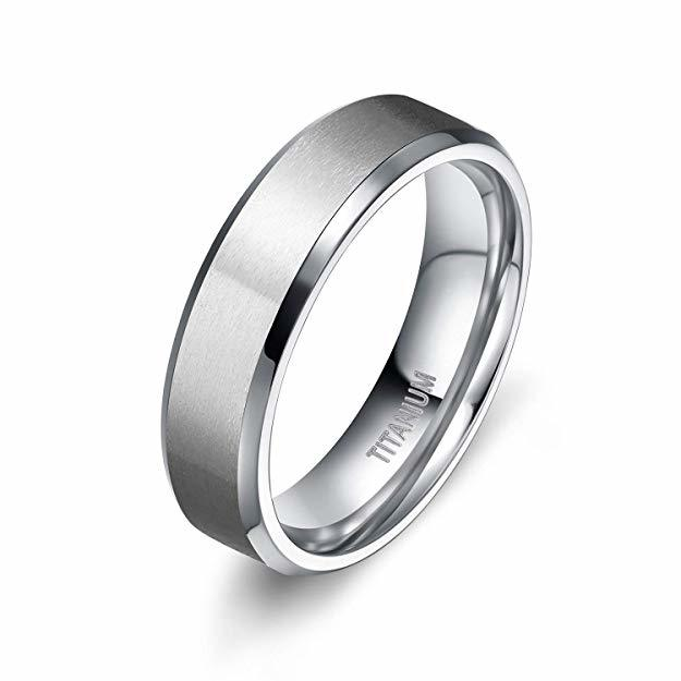Titanium Rings For Men Wedding Brushed Center Beveled Polished Edge 6mm
