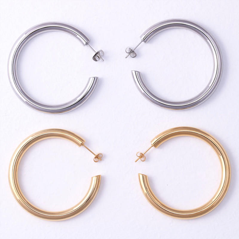 Women 316L Stainless Steel Jewelry Cuff Big hypoallergenic Hoop Earrings