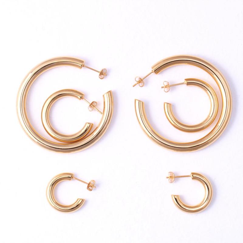 Women 316L Stainless Steel Jewelry Cuff Big hypoallergenic Hoop Earrings