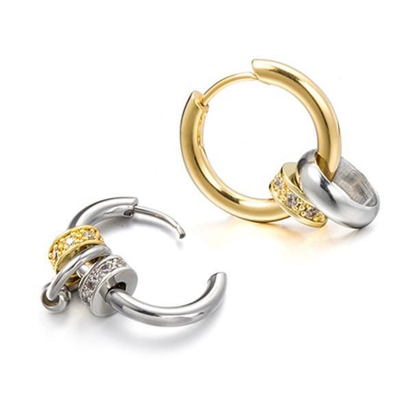 Custom Stainless Steel Hoop Earrings Exchangeable Bead Pendants