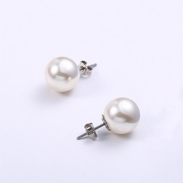 Classic 10mm Shell Pearl Stub Pure Titanium Earrings for Women Men