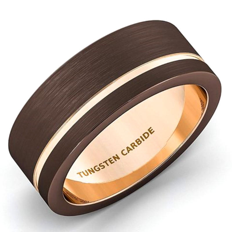 Rose Gold and Brown Colors Tungsten Rings Special for Men