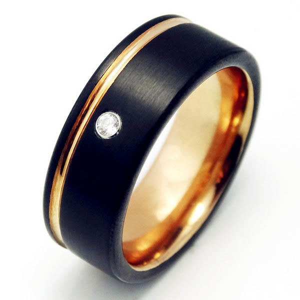Two Tone Black and Rose Gold Tungsten Carbide Rings with Cubic Zirconia Stone