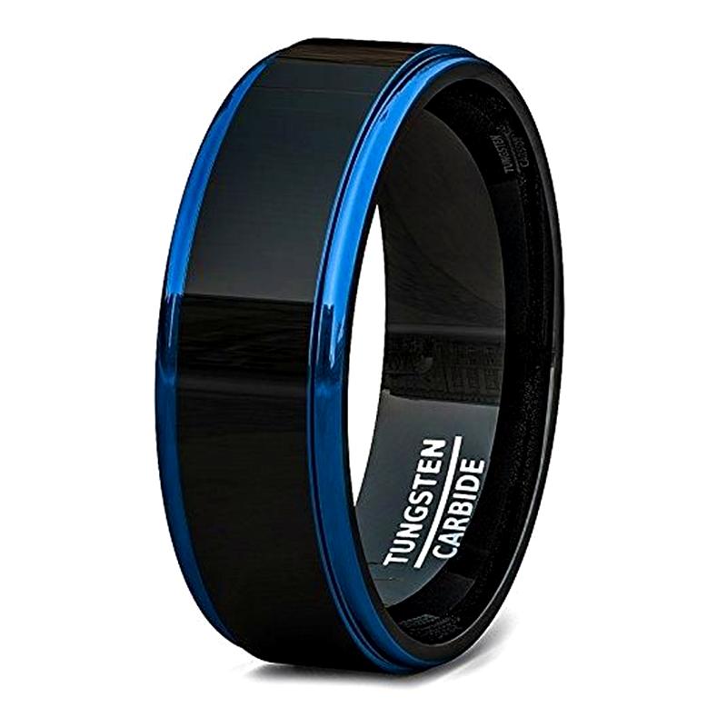 Step Blue Edge Mens Black Matte Tungsten Wedding Band 8mm