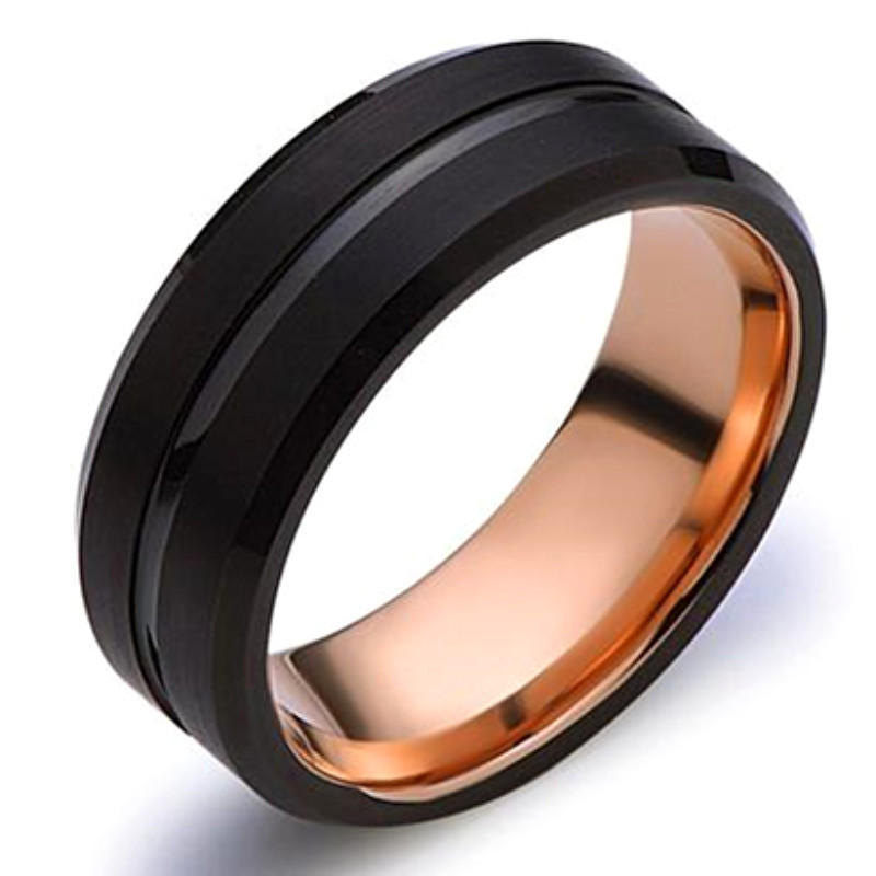 Stripe Black and Rose Gold Tungsten Wedding Ring for Men 8mm