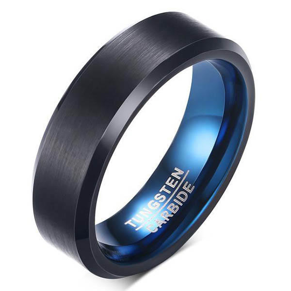 Matte Tungsten Carbide Ring Blue Inner and Black Surface