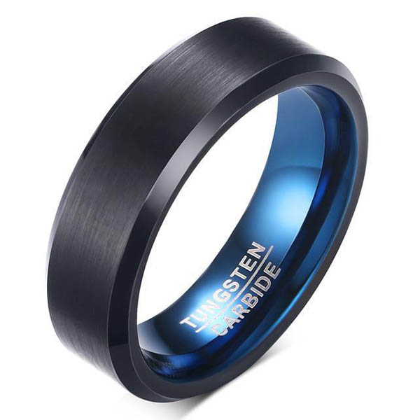 JaneE koa wood mens black wedding bands matt for engagement-1