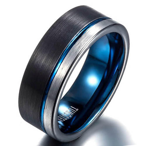 Blue Groove Line Tungsten Ring For Men's Gift