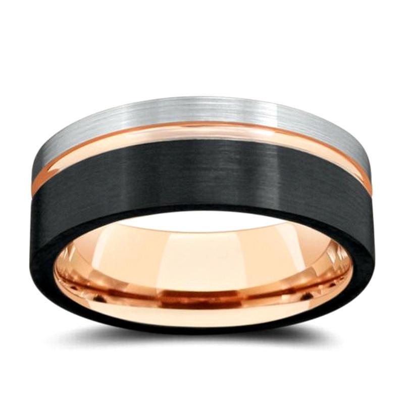 2019 Silver Black Rose Gold Tungsten Carbide Wedding Band for Men Ring