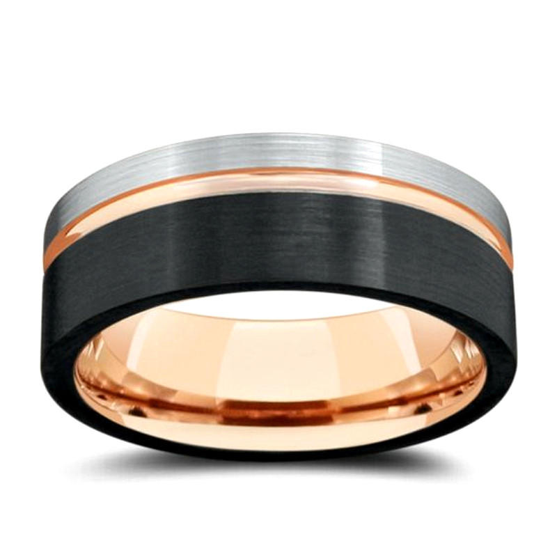 2019 Silver Black Rose Gold Tungsten Carbide Wedding Band for Men Ring