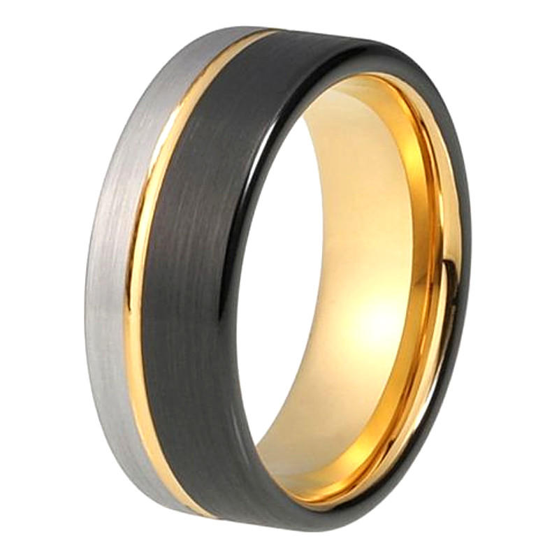 Factory Custom Gold and Black Tungsten Carbide Ring for Men Women