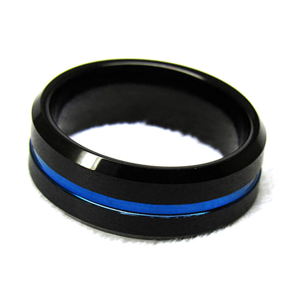 Blue Groove Fashion Ring for Men Tungsten Carbide