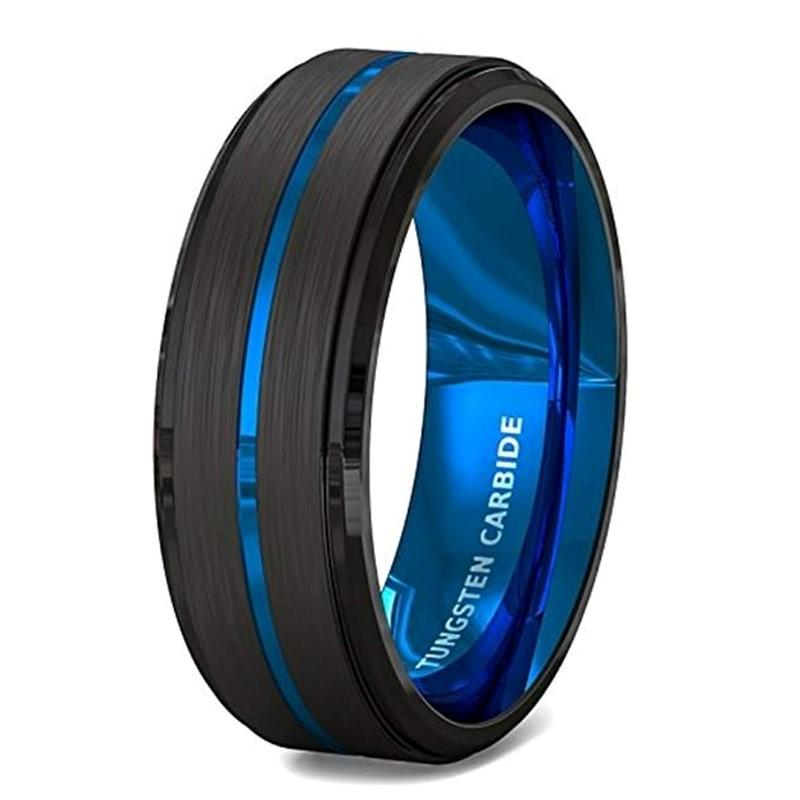 Men's Blue and Black Tungsten Carbide Wedding Bands 8mm