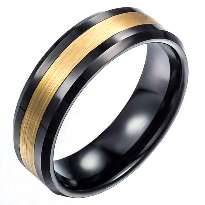 Men's 8mm Gold Brushed Center & Black Tungsten Carbide Wedding Band Ring