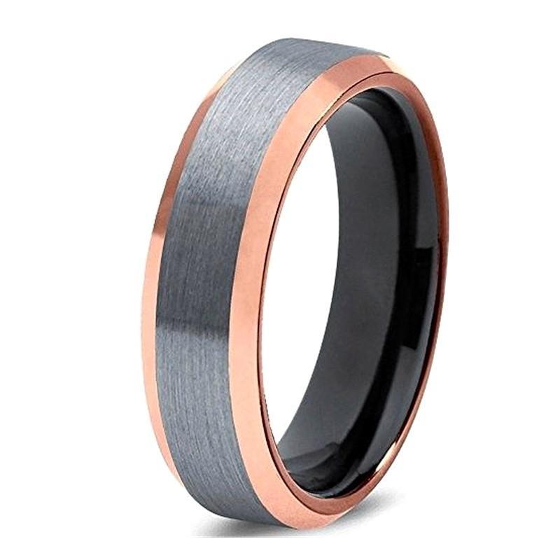 6mm Rose Gold Wedding Ring Tungsten Carbide Men Band