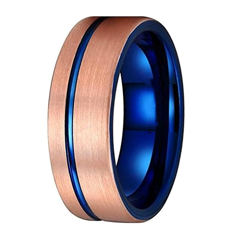 Blue and Rose Gold Tungsten Carbide Wedding Band for Men with Groove