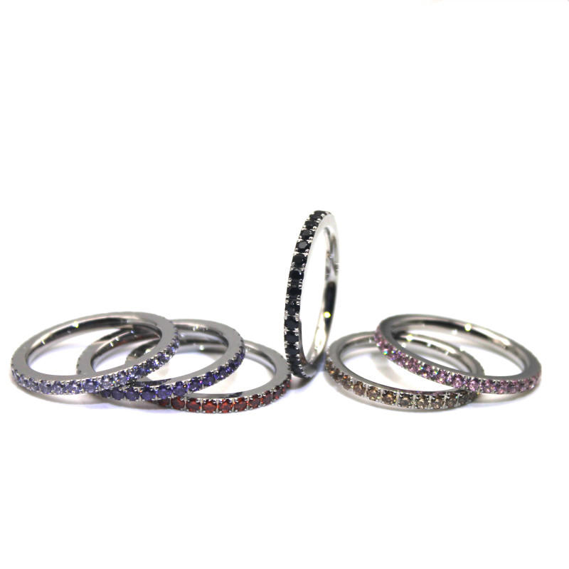 316L Stainless Steel Colors Purple Red Black Blue Yellow AAA Cubic Zirconia Ring