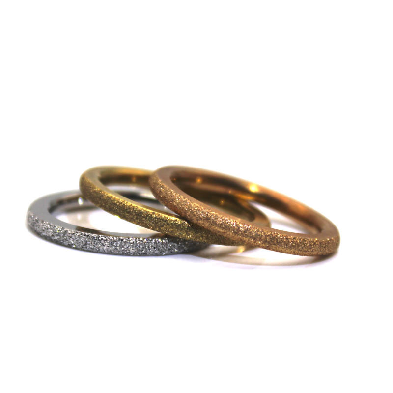 High Quality Sandblasting 14K Gold Plating 316L Stainless Steel Ring for Men Women