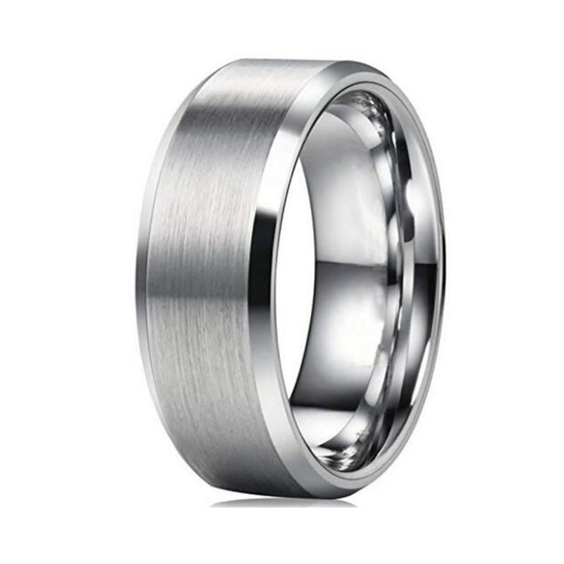 Cheap Brushed Matte Plain 8mm 316L Stainless Steel Men Ring