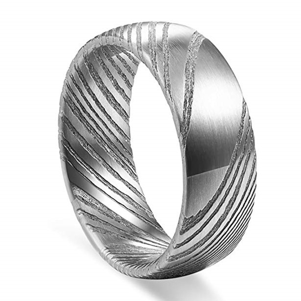 JaneE watery or wavy patterns damascus steel mens wedding band wholesale for wedding-1