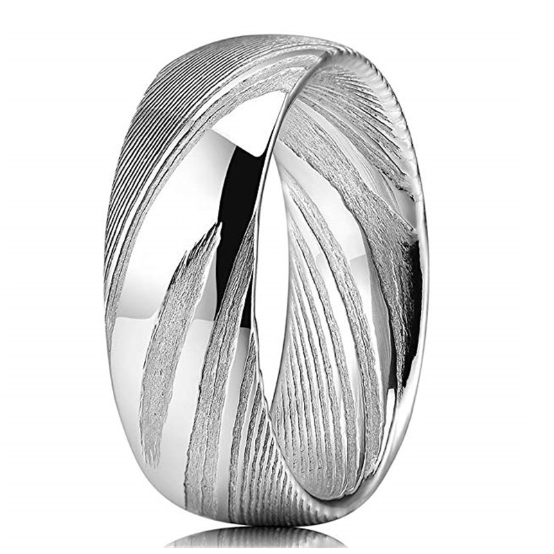JaneE watery or wavy patterns damascus steel mens wedding band wholesale for wedding-2