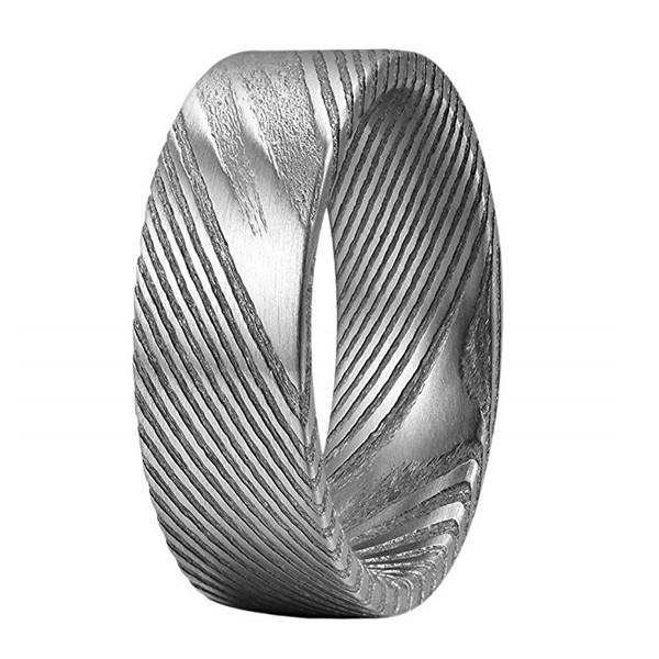 Damascus Steel Men's Wedding Band Domed Hand Forged Ring