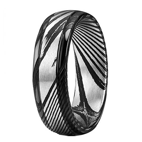 Amazon Hot Sale Black Step Edge Damascus Steel Wedding Band for Men