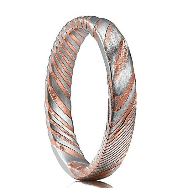 Rose Gold Damascus Steel Wedding Bend for Men 4mm Women Ring