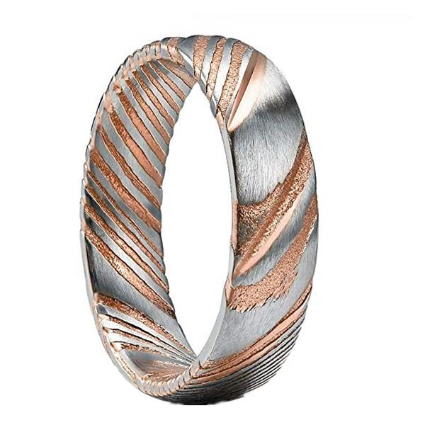 6mm Men's Damascus Steel Wedding Rings Rose Gold Plating