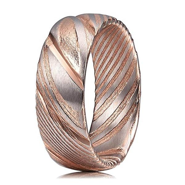 Cheap 8mm Rose Gold Etched Damascus Steel Wedding Rings for Women