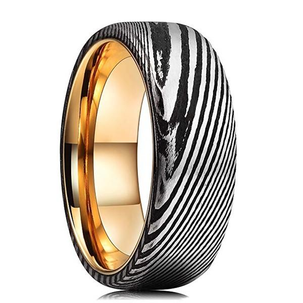 Gold and Black Plating Damascus Steel Men Ring Biker Punk Ring