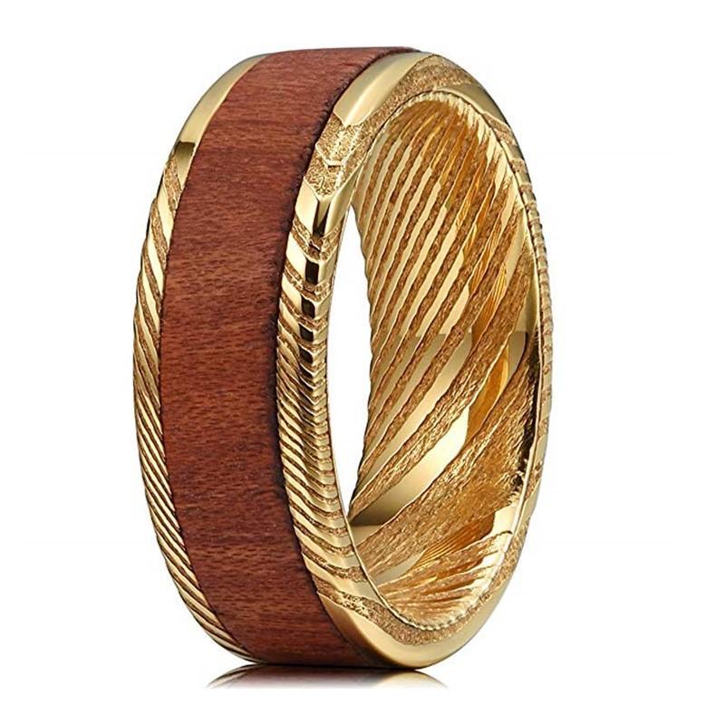 Hawaii Koa Wood Inlay Gold Damascus Steel Wedding Ring