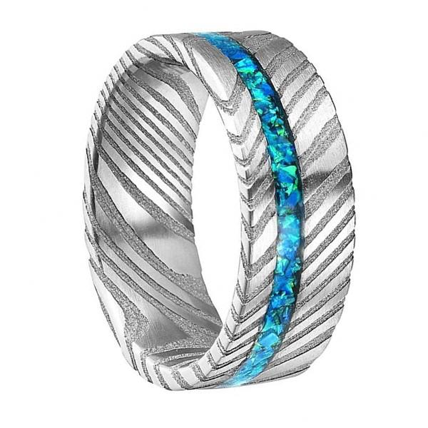 Opal Damascus Steel Inlay Wedding Ring for Men Women
