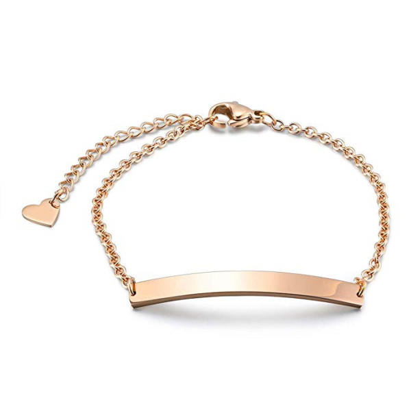 316L Stainless Steel Bar Engraved Name Chain Bracelets for Women