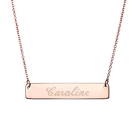 Custom Men Women Engraved Name 316L Stainless Steel Bar Charm Necklace