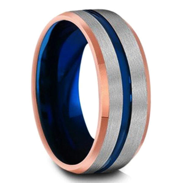 traditional blue tungsten wedding bands red opal exquisite for engagement