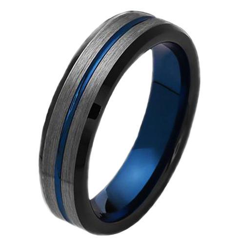 6mm Blue Line Black Tungsten Ring Men