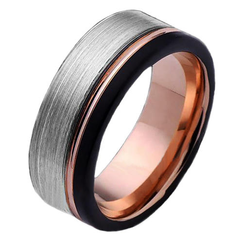 Tungsten Carbide Wedding Rings Black and Rose Gold Offset
