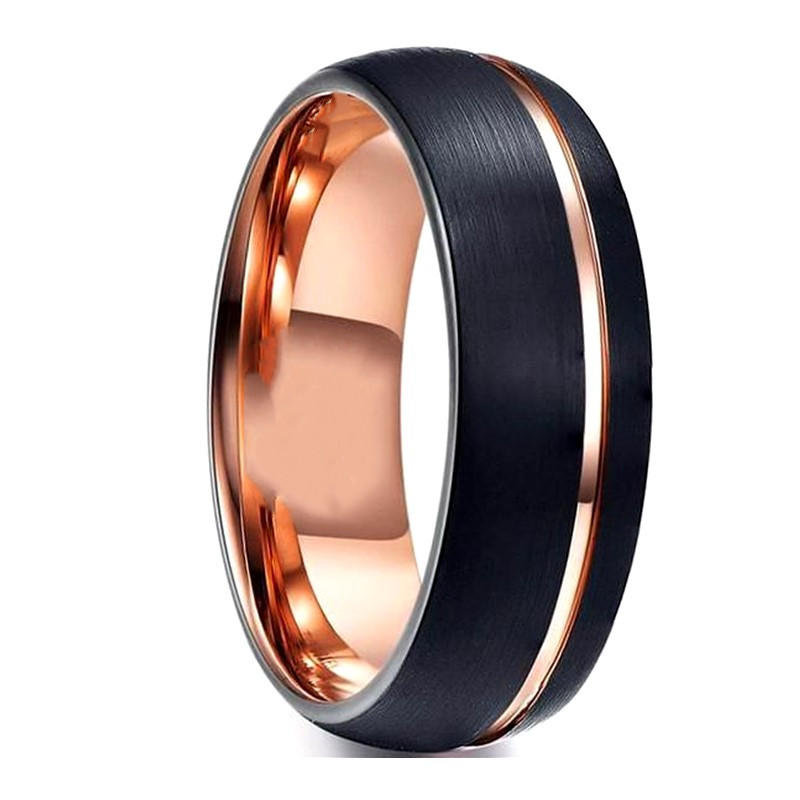 Two Tone Tungsten Wedding Band for Women Rose Gold Groove Dome