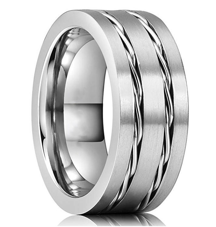 Unique Tungsten Carbide Wedding Ring with Stainless Steel Chain Inlay