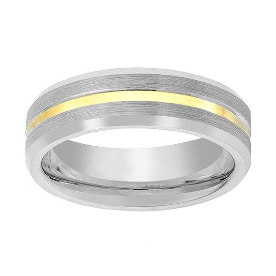 Gold Line Tungsten Carbide Ring Polished Beveled Edge
