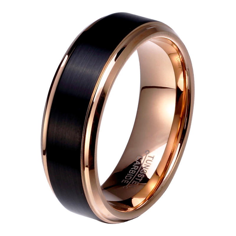 Tungsten Ring Black and Rose Gold Plating Beveled Step Edge Price